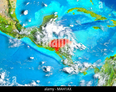 Honduras highlighted in red on planet Earth. 3D illustration. Elements of this image furnished by NASA. - Stock Photo