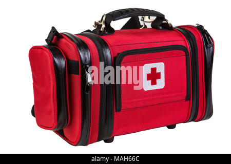 Modern portable doctor red bag isolated on white - Stock Photo
