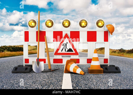 Street barrier with shovel, traffic sign, traffic cone and safety helmet on the road 3D rendering - Stock Photo