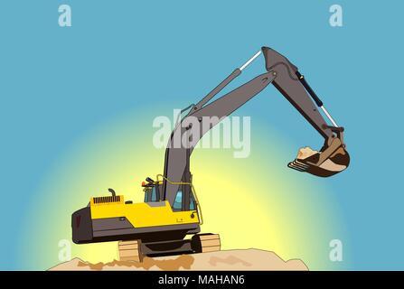 Yellow excavator illustration - Stock Photo