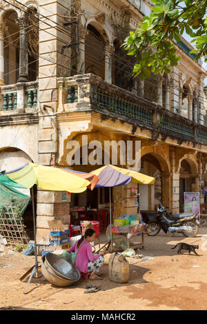 Asia market - street scene in Chhlong village market, with old french colonial buildings, Kampong Thom, Cambodia Asia - Stock Photo