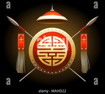 Medieval Asian Warrior Shield and Spears with flags. Chinese hieroglyph that means warrior. Vector illustration. - Stock Photo