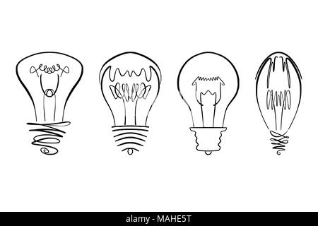 Light bulb vector image, hand drawn lightbulb set usable as logo, icon, clipart, symbol or idea design element in modern and simple design - Stock Photo