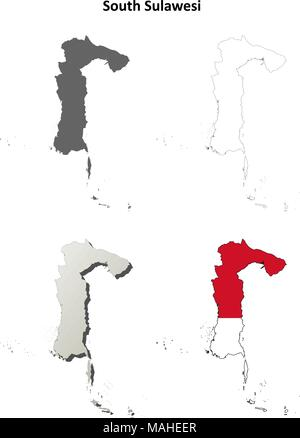 South Sulawesi blank outline map set - Stock Photo