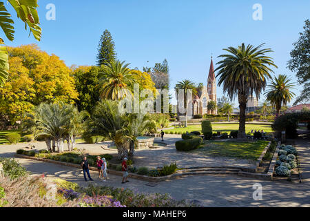 Parliament Garden and Christ Church (Christus Kirche) in WIndhoek, Nambia, Africa - Stock Photo
