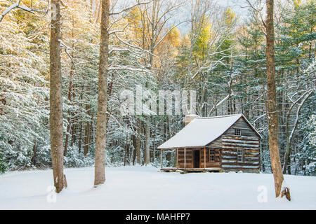 Carter Shields Cabin, Winter, Great Smoky Mountains NP, TN, USA by Bill Lea/Dembinsky Photo Assoc - Stock Photo