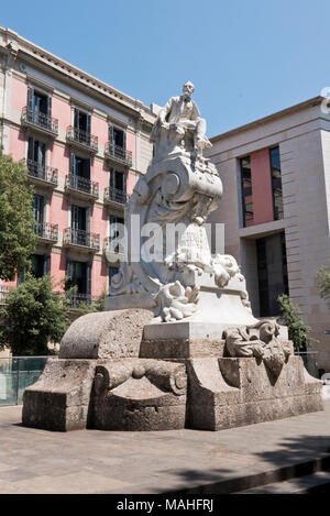 A monument of Frederic Soler by the sculptor Agustín Querol and the architect Falqués in Las Ramblas, Barcelona, Spain - Stock Photo