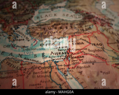 Middle east map. Israel in focus - Stock Photo