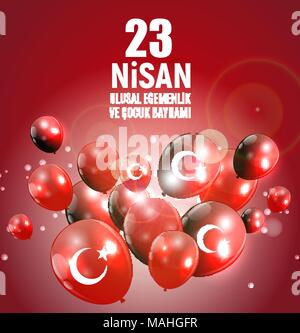 23 April Children's day (Turkish Speak: 23 Nisan Cumhuriyet Bayrami). Vector Illustration - Stock Photo