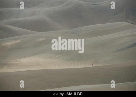 Hiker walking across sand dunes, Great Sand Dunes NP, CO, USA, by Bruce Montagne/Dembinsky Photo Assoc - Stock Photo