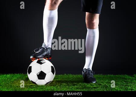 Soccer goal moment.Soccer World cup concept. Striker shooting on goal.Football League Championship