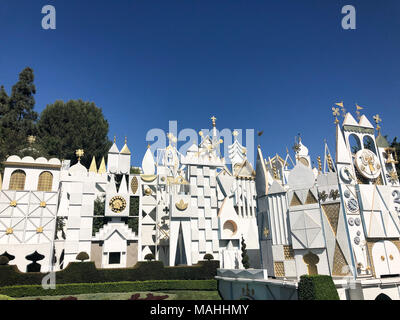 ANAHEIM, CA - OCTOBER 16, 2017: Small World attraction in Disneyland California on a busy day with nice blue skies and great weather. - Stock Photo