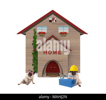 cute average working class pug dog familiy, sitting down in front of their renovated home, isolated on white background - Stock Photo