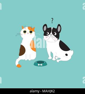 Funny dog and cat - Stock Photo