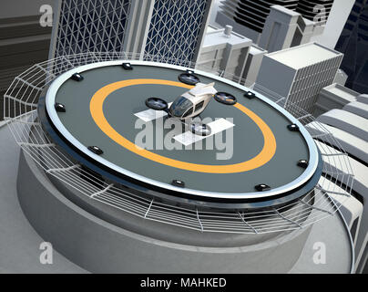 White self-driving passenger drone takeoff and landing on the helipad. 3D rendering image. - Stock Photo