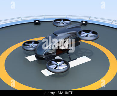 Front view of white self-driving passenger drone takeoff and landing on the helipad. 3D rendering image. - Stock Photo