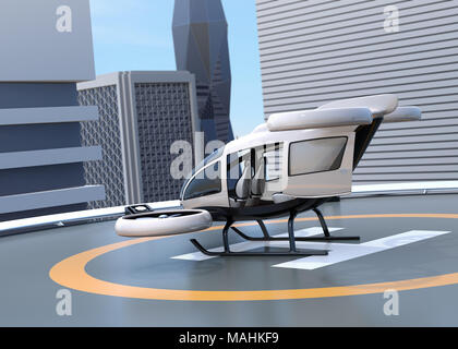 White self-driving passenger drone parking on the helipad. 3D rendering image. - Stock Photo