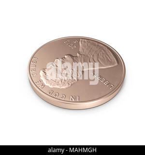 United States Lincoln Penny isolated over white. 3D illustration, clipping path