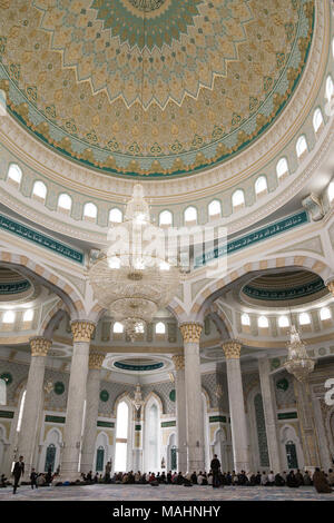 Hazrat Sultan Mosque interiors, Astana Kazakhstan, Asia. - Stock Photo