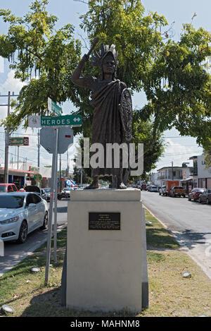 Still image of the Aztec Emperor Cuauhtemoc at a street in Chetumal, Quintana Roo, Mexico - Stock Photo