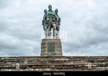 SPEAN BRIDGE , SCOTLAND - MAY 31 2017:: A memorial dedicated to the men of the British Commando Forces raised during World War II. - Stock Photo