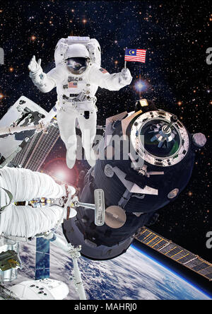 Astronaut in outer space, artist expression of Malaysia National Space Agency cosmonaut on International Space Station. Elements of this image furnish - Stock Photo