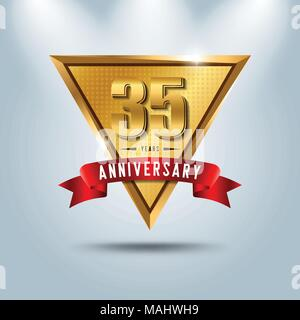 35 years anniversary celebration logotype. Golden anniversary emblem with red ribbon. Design for booklet, leaflet, magazine, brochure, poster, web, in - Stock Photo