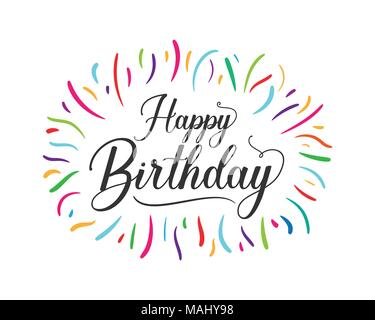 Colorful Happy Birthday Typographic Design For Poster Banner