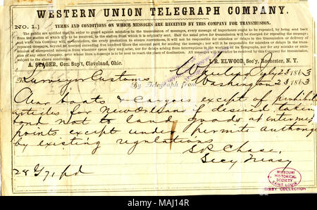 Title: Telegram from S. P. Chase to surveyor custom, July 23, 1863  . 23 July 1863. Chase, Salmon P. (Salmon Portland), 1808-1873 - Stock Photo