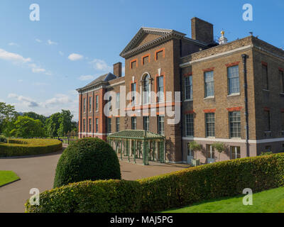 View of Kensington Palace, a royal residence situated in Kensington Gardens in London on a sunny day. - Stock Photo