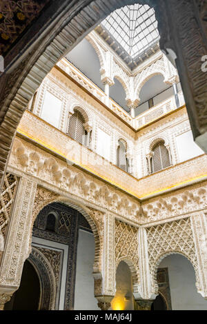 Inside the Real Alcázar of Seville (Reales Alcázares de Sevilla) a Mudejar Royal palace in the centre of the Spanish city Seville, Adalusia, Spain - Stock Photo