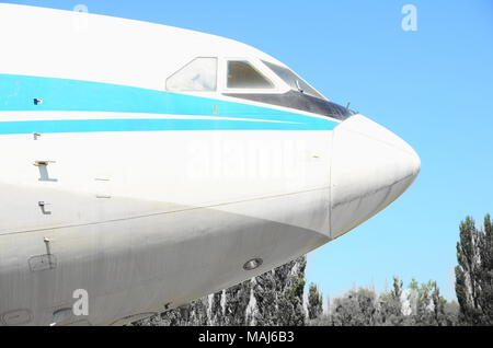 Nose of a passenger plane on the background of the sky and trees. - Stock Photo
