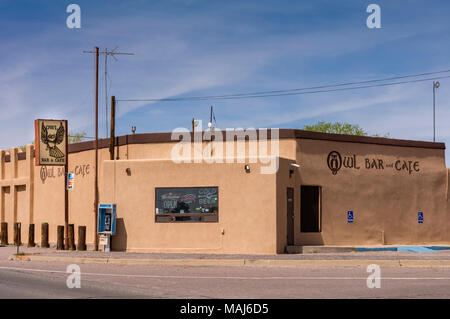 The Owl Bar and Café famous for green chile cheeseburgers located near the Trinity Site and Bosque del Apache in San Antonio, New Mexico, USA - Stock Photo