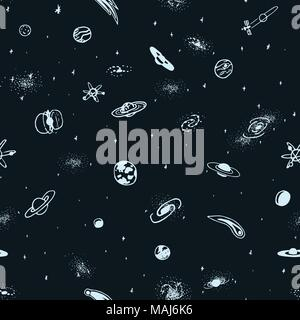 Vector seamless pattern of hand drawn doodle space object. Astro background - Stock Photo