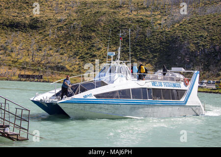 Hielos Patagonicos, Sightseeing boat on Lago Pehoe, Torres del Paine National Park, Patagonia, Chile - Stock Photo