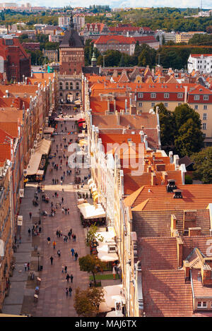 Looking down on Długi Targ, Gdansk, Poland, from the tower of the historic Town Hall - Stock Photo