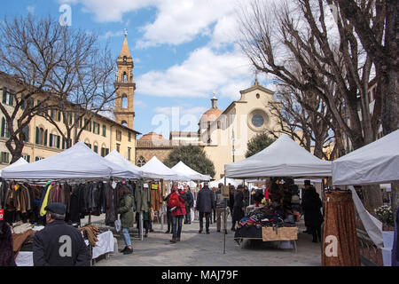 Piazza Santo Spirito Florence Italy. - Stock Photo