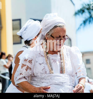 Campinas, SP Brazil - April 1 2018: practicioners of afro-brazilian religions perform a cleansing ritual during easter cerimonies - Stock Photo