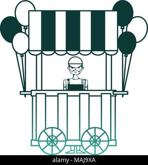 circus pumps air shop with salesman vector illustration design - Stock Photo