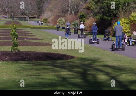 People Travelling on Segway Scooters Through Seaton Park, Old Aberdeen, Scotland, UK. - Stock Photo