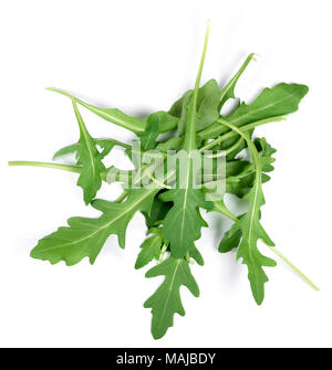 Fresh arugula or rocket leaves, isolated on white background. Arugula salad. - Stock Photo