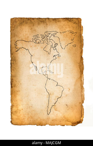 old map of the American continent isolated on white - Stock Photo