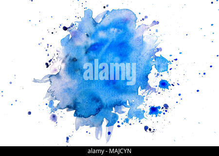 blue watercolors on paper texture , hand painted element - Stock Photo