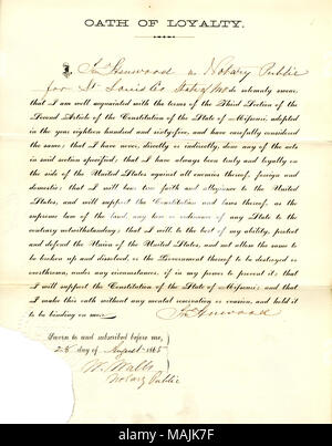 Swears oath of allegiance to the Government of the United States and the State of Missouri. Title: Loyalty oath of Jno. Henwood of Missouri, County of St. Louis  . 28 August 1865. Henwood, J. - Stock Photo