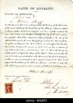 Swears oath of allegiance to the Government of the United States and the State of Missouri. Title: Loyalty oath of William Stumpf of Missouri, County of St. Louis  . 2 September 1865. Stumpf, W. - Stock Photo