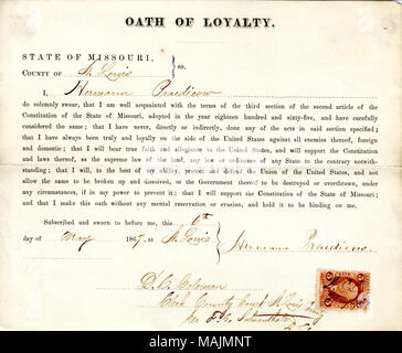 Swears oath of allegiance to the Government of the United States and the State of Missouri. Title: Loyalty oath of Hermann Praedicow of Missouri, County of St. Louis  . 6 May 1867. - Stock Photo