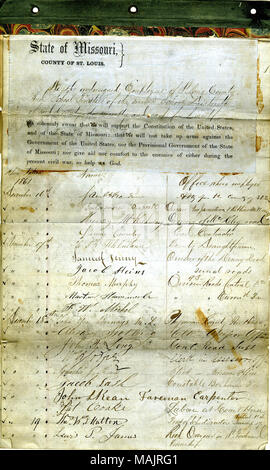 Swear oath of allegiance to the Government of the United States and the State of Missouri. Title: Loyalty Oath of Employees of the County of St. Louis  . 21 June 1862. - Stock Photo