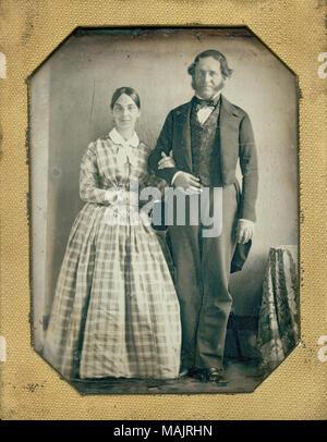 Title: Mr. and Mrs. Henri Pierre Chouteau.  . circa 1850s. - Stock Photo