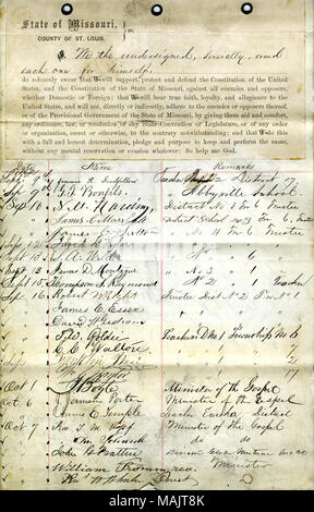 Swears oath of allegiance to the Government of the United States and the State of Missouri. Title: Loyalty Oath signed by various teachers and ministers, St. Louis.  . between 1862 and 1863. - Stock Photo