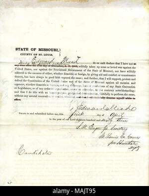 Swears oath of allegiance to the Government of the United States and the State of Missouri. Title: Loyalty Oath of Edward Mead, Candidate, St. Louis.  . 1 April 1863. Mead, Edward - Stock Photo